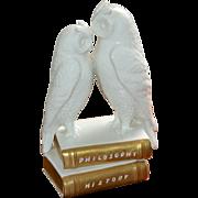 Bassano Italy Agostinelli Porcelain Porcellane D'Arte White Porcelain Owl w/ Philosophy & History Book Sculpture Figurine