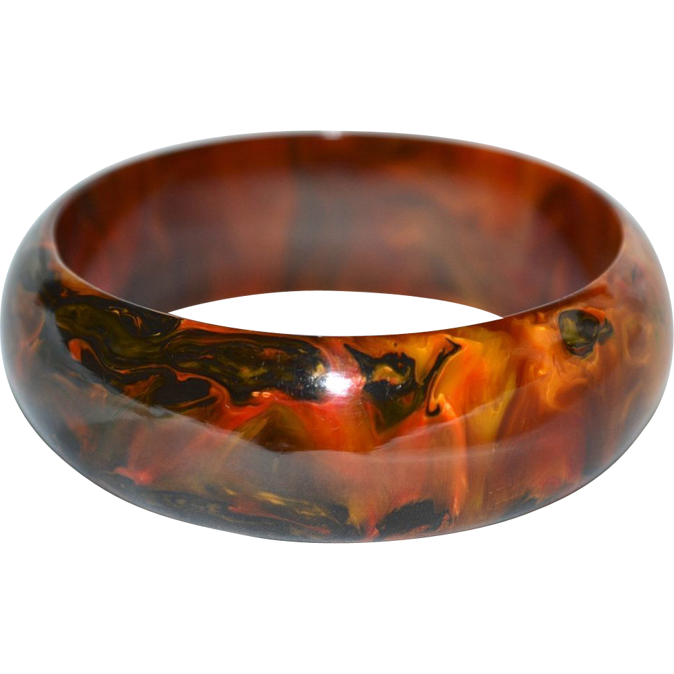 Gorgeous End of Day Marbled Bakelite Wide Dome Bangle Bracelet
