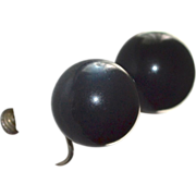Gigantic Black Moonglow Lucite Clip Screwback Earrings