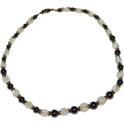 Beautiful Black Hematite & Mother of Pearl Rice Bead Necklace