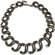 Large Tribal Inspired Statement 'S' Link Silvertone Necklace