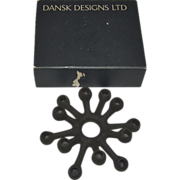 "Mid Century Danish Modern Dansk Designs JHQ Black ""Spider"" Cast Iron Candle Holder in Box"