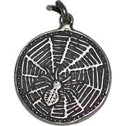 Signed Antique Victorian Sterling Spider Web Good Luck Charm w/ Horseshoe, Four Leaf Clover & Oak Leaf