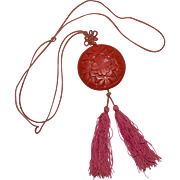 Art Deco Carved Red Cinnabar Asian Tassel Pendant Necklace