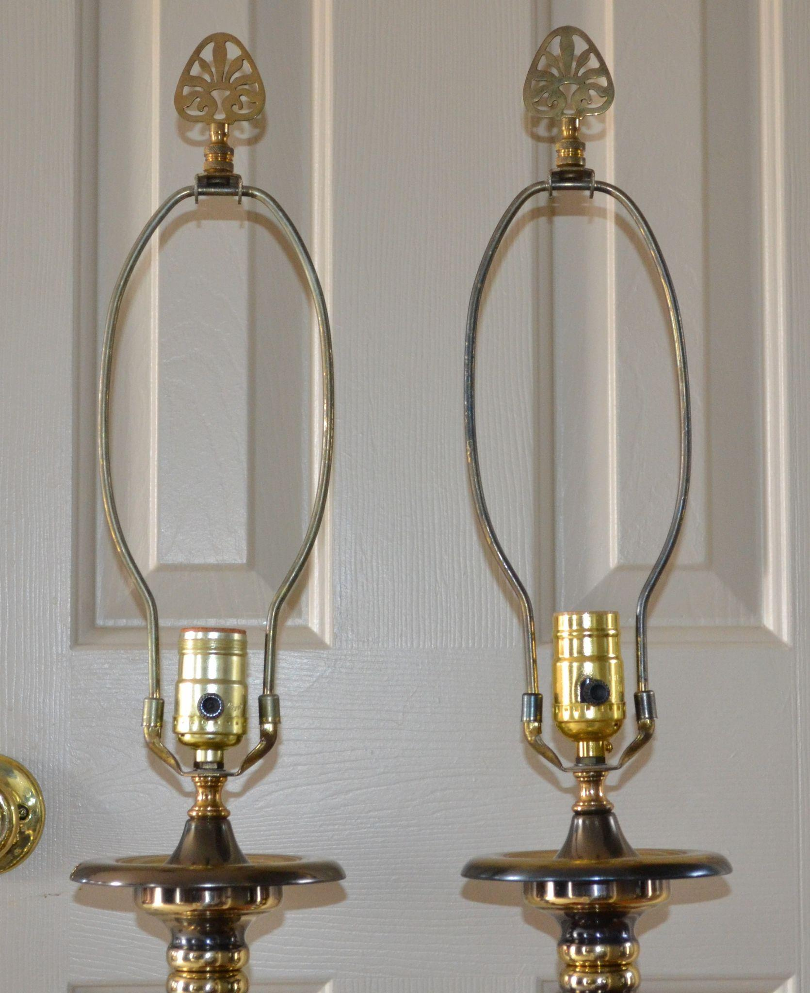 Novelty Lamp Finials : Moody Pair of Burnished Brass Spindle Lamps w/ Finials from rubylane-sold on Ruby Lane
