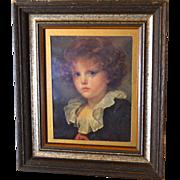 "Large 15"" Somber Child Classical Art Print in Dark Wood Frame"
