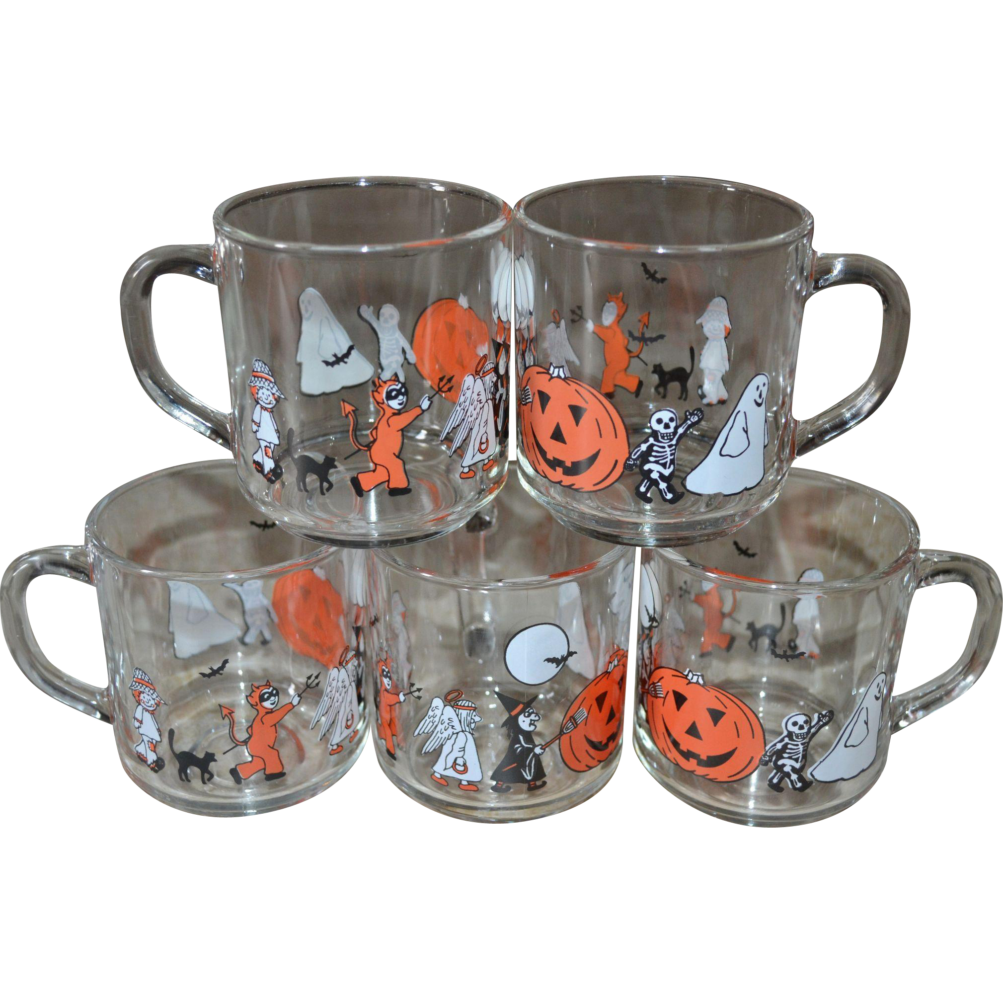 luminarc set of 5 spooky halloween glass cups or mugs sold | ruby lane