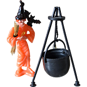 1970s 4-Pc Halloween Witch w/ Black Bat, Broom & Cauldron Cake Topper Decoration