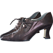 Award Winning Witch's Shoes! Margaret J Purplish Black Lustrous Leather Lace Up Granny Shoes