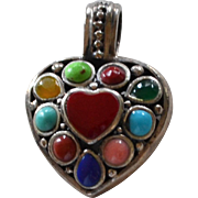 Sterling Silver Multi-Gemstone Chunky Heart Pendant