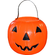 1980 EMPIRE Blow Mold Plastic Orange Jack-o-Lantern Pumpkin Candy Pail Bucket