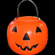 1980 EMPIRE Blow Mold Plastic Orange Jack-o-Lantern Pumpkin Candy Pail Bucket