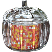 Anchor Hocking Ribbed Glass Fall Pumpkin Jar w/ Lid & Insert