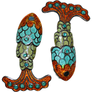 Margot de Taxco Sterling Orange, Blue & Green Enamel Articulated Fish Clip Earrings
