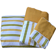 Cannon Monticello 3-Pc Mustard Yellow & Avocado Green Striped Full Fitted, Flat Sheet & Pillowcase Set