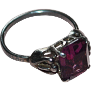 Sarah Coventry Brutalist Sterling Silver Faceted Purple Glass Ring ~ Size 6