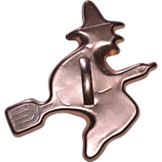 """Large 5"""" Pink Copper Aluminum Flying Witch on a Broom Cookie Cutter"""