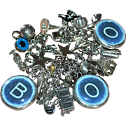 Incredible Chunky Sterling BOO! Halloween Charm Bracelet LOADED 32 Charms on Elco Bracelet