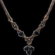 1930s W.E. Richards Symmetalic Sterling Silver Vermeil Black Onyx Pendant Drop Necklace