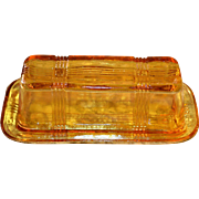 Art Deco Amber Colored Depression Glass Butter Dish with Lid