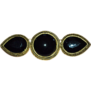 Carol Dauplaise Large Black Glass Brooch/Pin