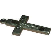 Religious Silvertone & Natural Wood Crucifix Cross Pendant