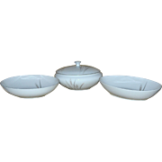 Set of 3 Fine China of Japan Platinum Wheat White Covered Vegetable Bowl & Serving Bowls