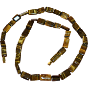 "Genuine 22"" Polished Tiger Eye Stone Necklace"