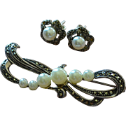 Sterling Silver Marcasite & Pearl Bow Pin/Brooch & Earrings Set