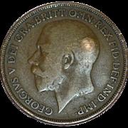 Circa 1915 GEORGIVS V DEI GRA BRITT OMN REX FID DEF IND IMP One Penny