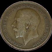 Circa 1919 GEORGIVS V DEI GRA BRITT OMN REX FID DEF IND IMP One Penny