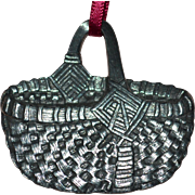 Signed 1959 Danforth Pewter Heavy Basket Christmas Ornament