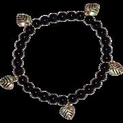10K Black Hills Gold Leaf Charm & Black Onyx Bead Bracelet