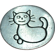 Signed 1990 Lena Guyot Pewter Stylized Kitty Cat Brooch/Pin