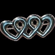 Large Sterling Silver Triple Heart Pin/Brooch
