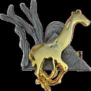 Ultra Craft Running Giraffe Mixed Metal Pewter & Goldtone Pin/Brooch