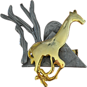 Ultra Craft Running Giraffe Mixed Metal Pewter & Goldtone Pin/Brooch