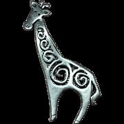 Signed JJ Pewter Openwork Swirl Giraffe Pin/Brooch
