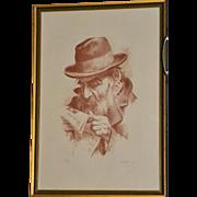 Signed Itshak Holtz 'Interesting News' Large Sepia Lithograph Wood Frame