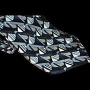 Oscar de la Renta 100% Silk Black, Silver & Gray Geometric Pattern Men's Tie