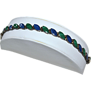 Lapis Lazuli & Malachite Sterling Silver Link Bracelet