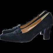 Salvatore Ferragamo Black Suede Leather Designer Signature Pumps / Heels
