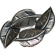 Beau Sterling Silver Textured Leaf Pin/Brooch