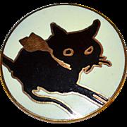 MMA Metropolitan Museum of Art Round Enamel Black Cat Goldtone Brooch/Pin