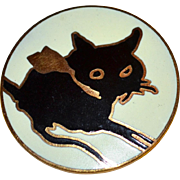 MMA Metropolitan Museum of Art Round Enamel Black Cat Goldtone Brooch/Pin