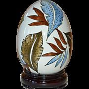 Large Hand-painted Leaf White Ceramic Egg on Decorative Wood Base