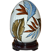 Large Hand-painted Leaf White Ceramic Egg on Decorative Wood Base