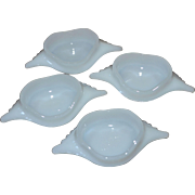 Glasbake Set of 4 Milk Glass Deviled Crab/Imperial Crab Baking Dishes