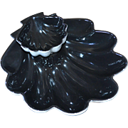 Jubilee Pottery Large Black Seashell 2-Pc Ceramic Chip & Dip Set