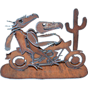 Awesome Scrap Metal Skull Bird Riding a Motorcycle Brutalist Art Sculpture